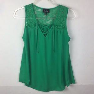 By & By Sleeveless Lace Panel Tie Front Shirt